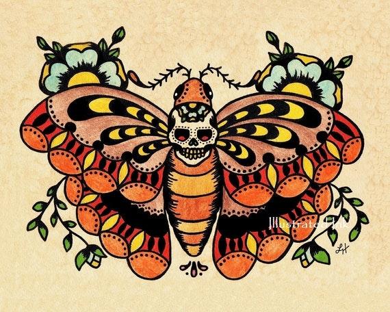 arte del tatuaggio old school morte moth cranio stampa 5 x 7. Black Bedroom Furniture Sets. Home Design Ideas