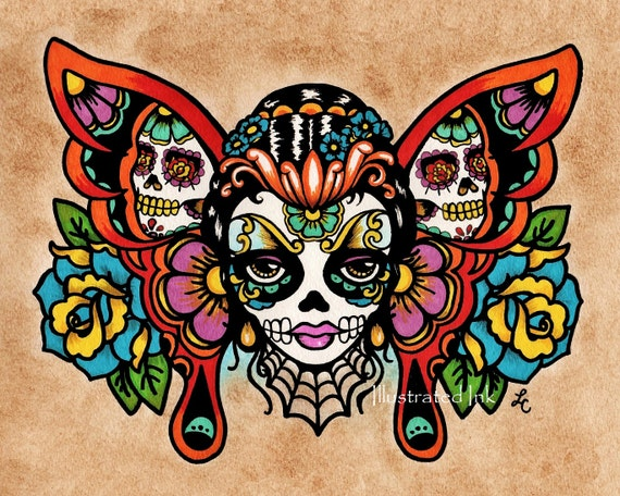 Day of the dead sugar skull butterfly old school tattoo art for Old school day of the dead tattoo
