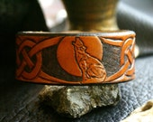 Leather Wristband-Celtic Leather Wristband-Wolf Moon Leather Wristband-Coyote Wristband-Tooled Celtic Wristband-Wolf Coyote Moon