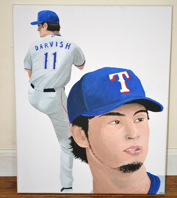 Yu Darvish Texas Rangers 16x20 inch Canvas Painting Spring Training Sale