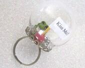 Limited Edition Frog Prince globe terrarium adjustable bronze 3D ring