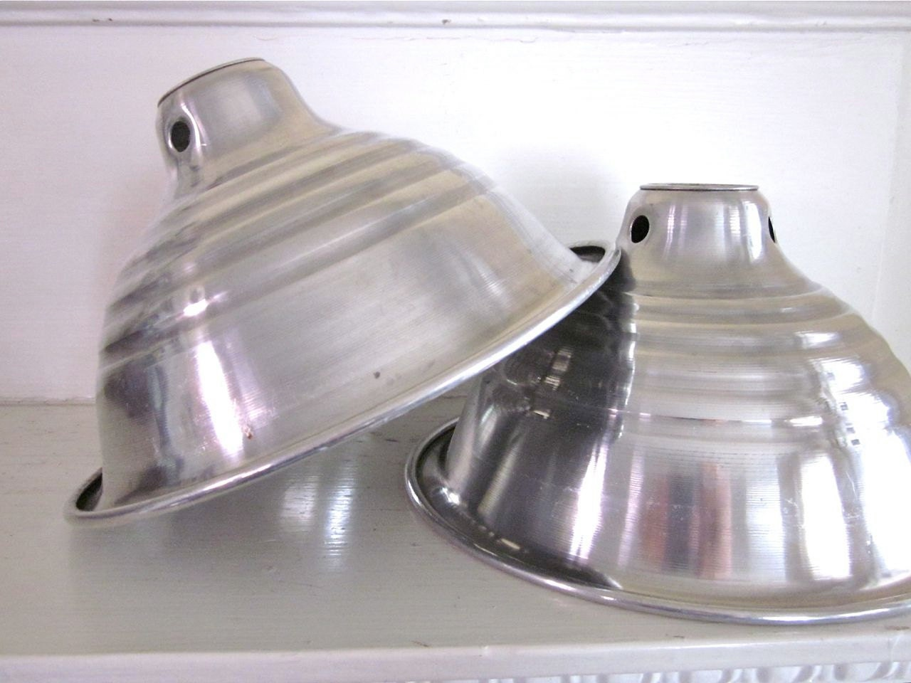 Two Industrial Metal Light Covers Vintage Aluminum Shades