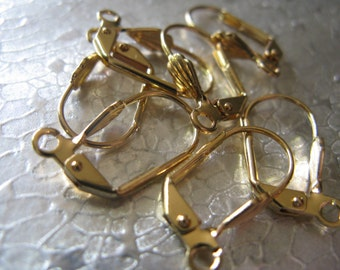 Earwire Leverback Gold Plated 10 pair Jewelry Findings