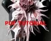 Nuno Felt PDF Tutorial Pattern Wet Felted Scarflette with Felt Flower Rose of Love Instant Download
