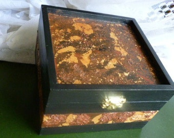 Handicraft  Wood Box on Decoupage and Gold Metal Leaf.
