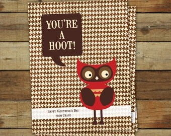 Printable Owl Valentine's Day Card - you're a hoot - editable pdf, instant download