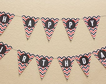 Printable Happy Birthday banner, firefighter birthday, instant download, red and black chevron
