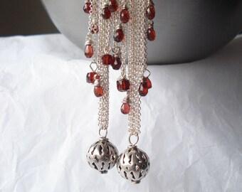 Istambul romance earrings---garnet,turkish sterling silver, sterling silver