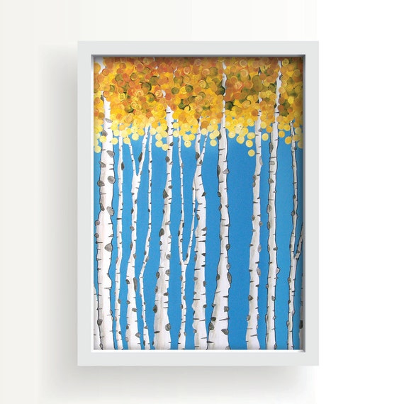 Modern art print aspen trees fall leaves modern home for Aspen tree wall mural