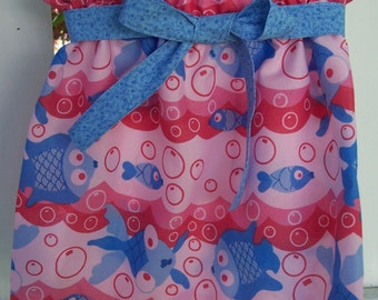 My Carrie Custom Fishy Fish Paper Bag Style Skirt with Tie Belt