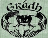Digital Download Claddagh Ring Gaelic Love Gradh digi stamp, Irish celtic Design, St Patrick's Day, Wedding, Valentine's Day