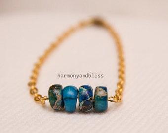Jasper stone, Jasper bracelet, Stone bead bracelet, gemstone bracelet, boho bracelet, layer jewelry, gift for her, blue jasper jewelry