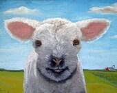 "Happy Day  - farm animal sheep lamb landscape 8 x 10"" print from original oil painting"