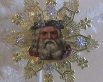 Vintage Gold and Silver Dresden Star Ornament with Antique German Santa Paper Scrap