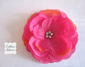 Hot Pink Silk Flower - Rhinestone Center - Millinery, Hair Flowers, Pin, Bows, Headband, Baby