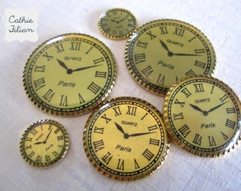 Watch Faces - set of 6 - gold - Vintage Look -  Altered Art, Scrapbooking,Jewelry Making