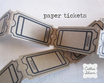Paper Tickets -  24 pcs - Scrapbooking, Altered Art - Collage - Maya Road - Black and Kraft