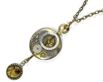 Steampunk Jewelry Necklace Pocket Watch Case Lens SCARAB Gears Topaz Gold Steam Punk Watch Parts Necklace  - Steampunk Jewelry by edmdesigns