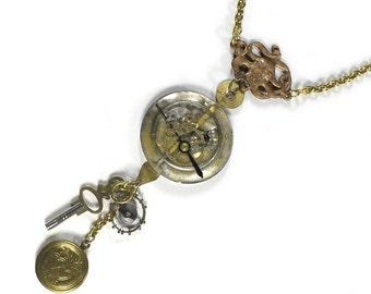 Steampunk Jewelry Necklace Watch Case Lens ART NOUVEAU Gears Heart Locket Key Parts, Girlfriend Mothers Day Gift - Jewelry by edmdesigns