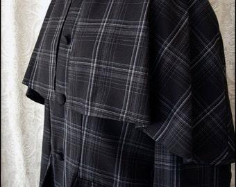 Last One! Black Tartan Sherlock Greatcoat by Kambriel - Ready to Ship Designer Sample