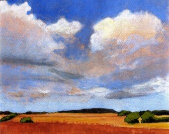 Blue Skies - PRINT of Original Landscape Painting Wheat Fields Clouds and Blue Sky 5x5