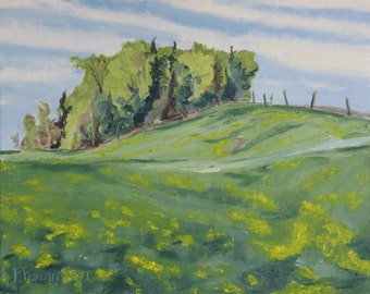 "Art Plein Air Landscape Oil Painting Original Country Scenery Impressionist Appalachian Spring Quebec Canada  "" Hills, Forest and Dandelions"