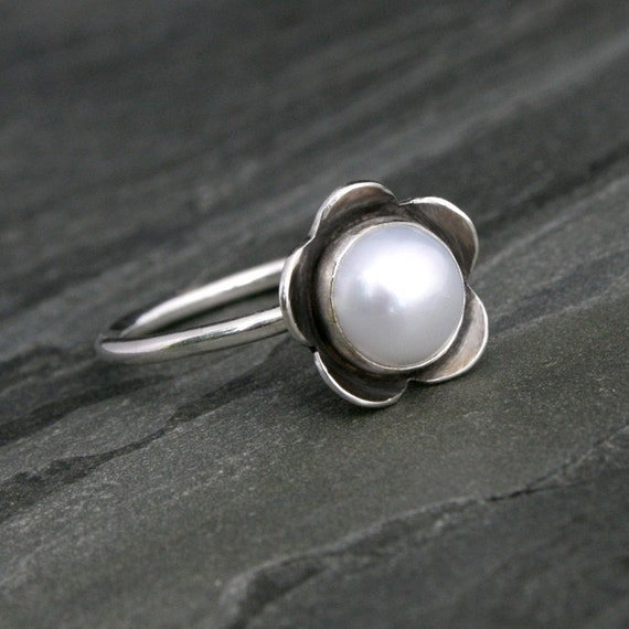 Pearl Flower Ring, Solid Sterling Silver, White Pearl, Handmade Ring, Metalsmith, Bloom Ring, Wear Alone or Stack with Other Rings
