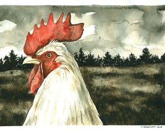 Painting no. 51  Winter Rooster-- print 8 x 10