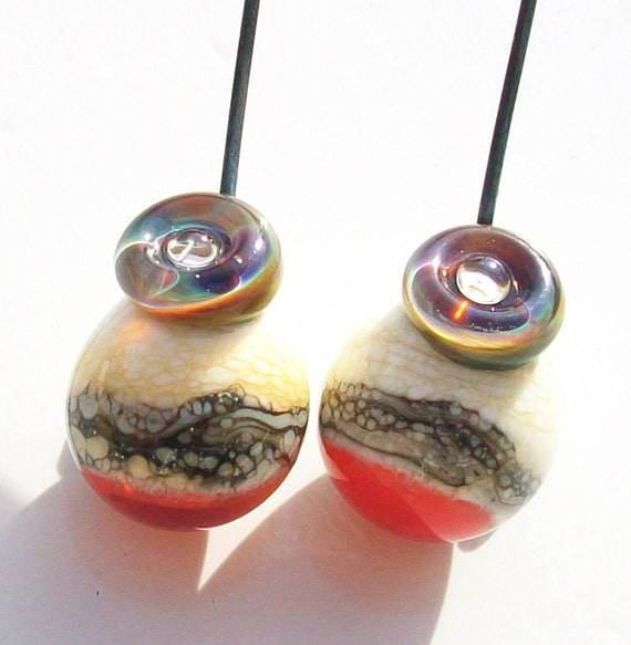 Solar Flare- Handmade lampwork glass headpin pairs- tear drop in ivory and vivid with a silver band and rainbow bubble button