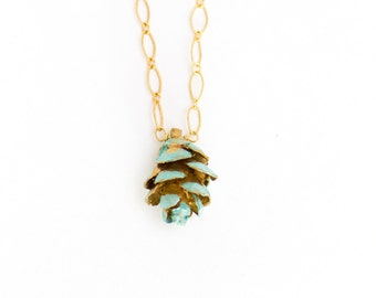 Blue Pinecone Necklace