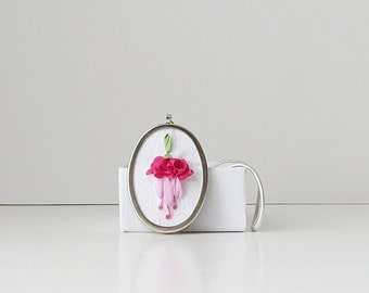 Fuchsia necklace, gardener's gift, silk ribbon jewelry, embroidered pendant, pink flower necklace