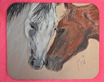 Bay and Roan Horse Art Mouse Pad Two Horses by Cori Solomon