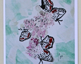 Spring Flutter Butterfly Art  Note Cards By Cori Solomon