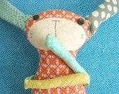 Bunny Rabbit Plush Pattern Long Arms, Long ears, peg legs and cute