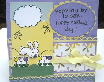 Handmade Happy Mother's Day Card, Card for Mom,  Bunnies and Tulips,  Lavender and Yellow, Hopping by to Say Happy Mother's Day