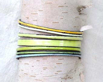 Mixed Field Tones Bangle Set - Handmade Enamel Bracelets
