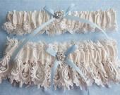Garter, Wedding Garter, Garter Set, Bridal Garter, Bride Garter, Bridal Lingerie Garter, Something Blue, Ivory Garter Set