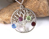 Family Tree necklace pendant with birthstones - Personalized Gift for Grandmother Grandma Mom Mother in law Antiqued Silver - custom rush