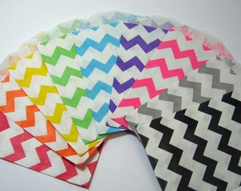 Little Bitty Paper Bags Super Sampler - Pack of 18 Chevron and Diagonal Stripes