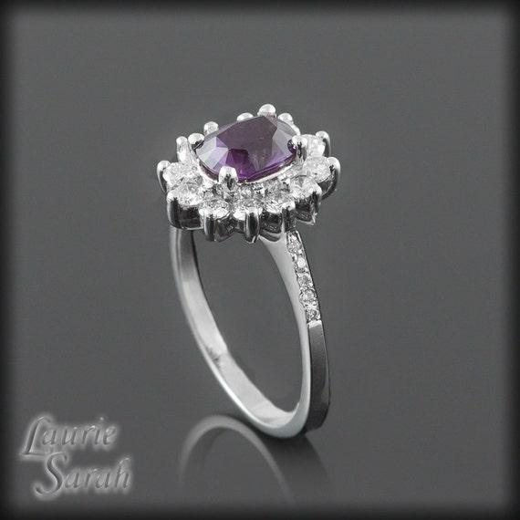 Sapphire Engagement Ring, Purple Sapphire and Diamond Flower Engagement Ring - LS1507