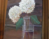 Painting of Hydrangea--Acrylic Painting of White Hydrangeas in a Clear Glass Vase