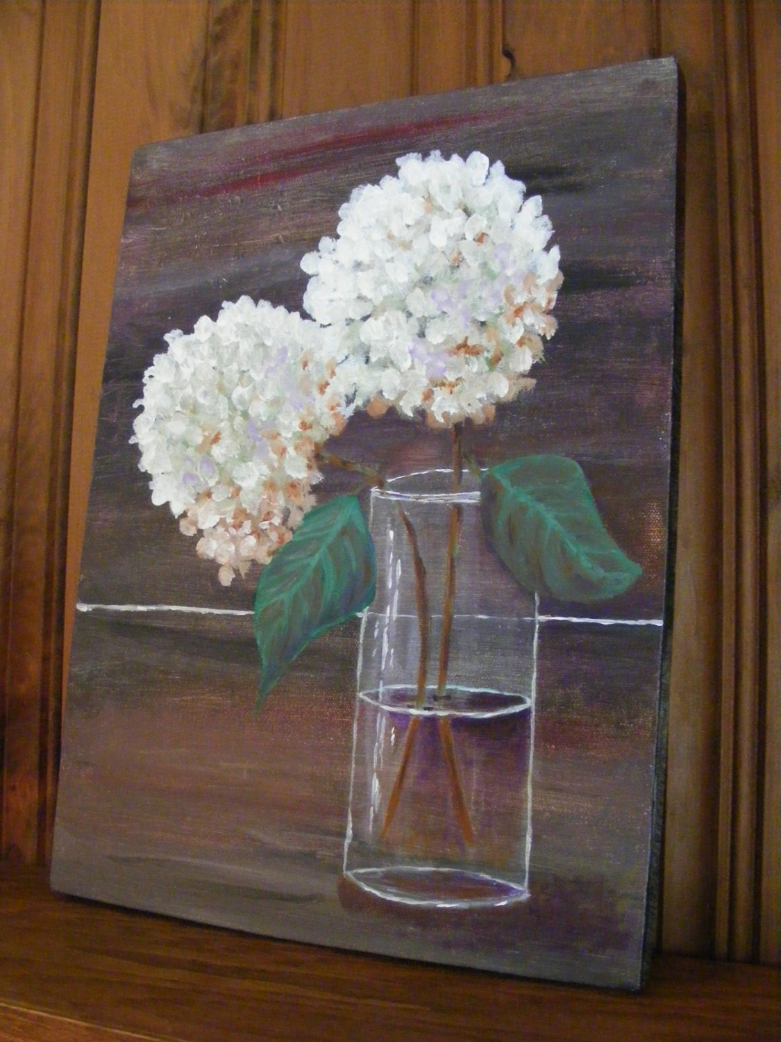 Painting Of Hydrangeaacrylic Painting Of White Hydrangeas In