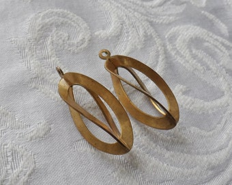 2 Vintage Brass Ribbon Pendants