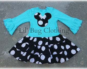 Custom Boutique Teal Black White Jumbo Dot Minnie Mouse Tiered Dress Girl