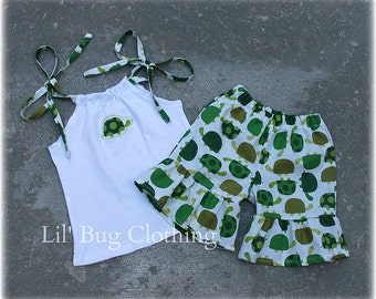 Little Green Turtle Girls Outfit, Green Turtle Top & Shorts Outfit, Boutique Girl Clothes