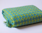 chartreuse and teal pendleton wool blanket
