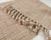 MADE TO ORDER HandWoven Table Runner Coffee Table Decor Oatmeal Wheat White Cotton Hand Woven