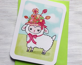 Easter Card - Easter Bonnet Lamb - Easter, Spring Notecard