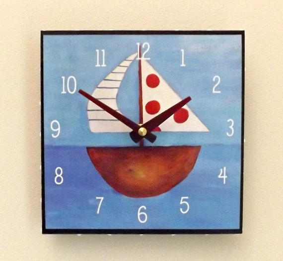 Sailboat Clock, Boy's Clock, Man's Clock, Sailing, Nautical, Sea, Ship, Boat, Father's Day Gift, Dad Gift,