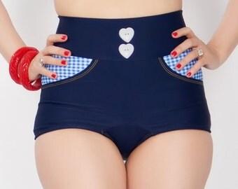 LORETTA Blue Gingham High Waist Bottom Sizes S, L, XL
